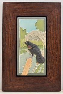 Medicine Bluff Blackbird Tile in Mitered Oak Frame