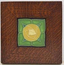 Motawi Pasadena Tile in Mitered Oak Frame