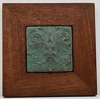 Framed Ravenstone Greenman Tile