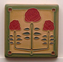 Arts and Crafts Tile Longstem Red