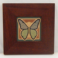Arts and Crafts Tile Butterfly in Mitered Mahogany Frame
