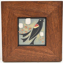 Arts and Crafts Songbird Tile in Mitered Mahogany Frame