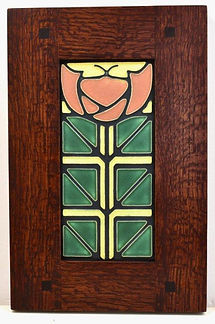 Motawi Little Journeys Tile in Morris Oak Frame