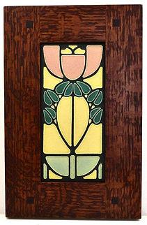 Motawi Bellflower Tile in Morris Oak Frame