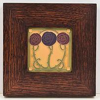 Arts and Crafts Macintosh Rose Tile in Mitered Oak Frame