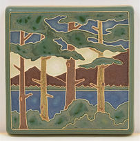 arts and crafts tile lake tahoe pines nature tile relief