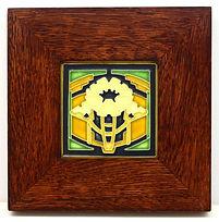 Motawi Poppy Tile in Mitered Oak Frame