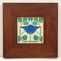 Motawi Lizzie Tile in Mitered Mahogany Frame