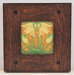 Motawi Ladybell Tile Green Oak in Morris Oak Frame