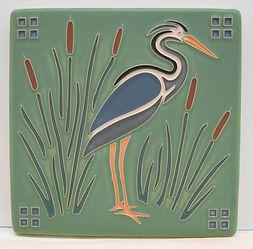 arts and crafts tile heron aqua