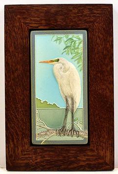 Medicine Bluff Egret Tile in Mitered Oak Frame Nature