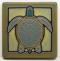 Arts and Crafts Tile Turtle Pale Blue