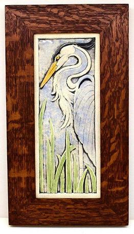 Earthsong Heron Tile Facing Left in Mitered Oak Frame