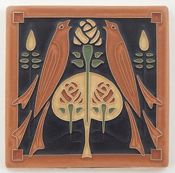Arts and Crafts Tile Songbirds Sienna