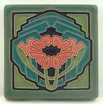 Arts and Crafts Tile Poppy Green Salmon