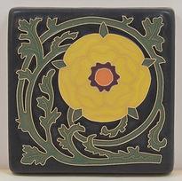 arts and crafts tile tudor rose tile flower tile handmade