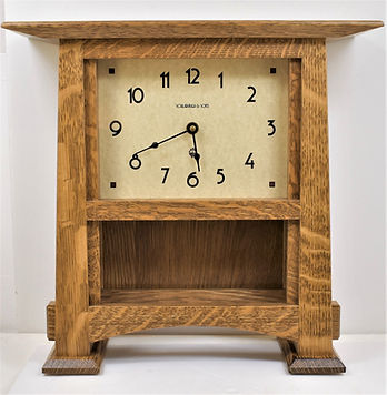 Schlabaugh Craftsman Horizon Tile Clock Nut Brown for Arts and Crafts Home
