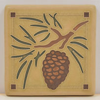 arts and crafts tile pinecone nature tile