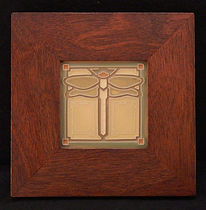 Arts and Crafts Dragonfly Tile in Mitered Mahogany Frame