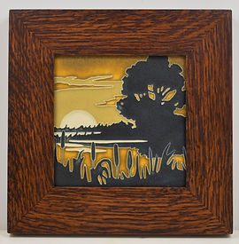 Motawi Marsh Tile in Mitered Oak Frame