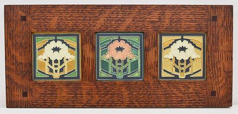 Motawi Poppy Tiles in Morris Oak Frame