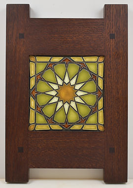 Motawi Alhambra Tile in Classic Oak Frame