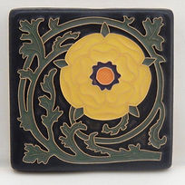 Arts and Crafts Tile Tudor Rose Bright Yellow