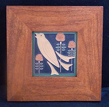 Arts and Crafts Songbird Tile in Mitered Cherry Frame