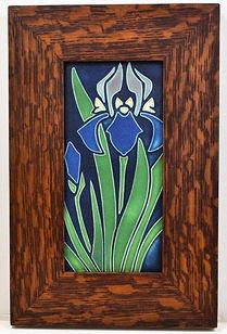 Motawi Iris Tile in Mitered Oak Frame