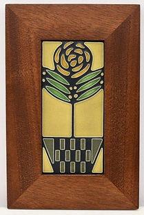 Framed Motawi Checkerpot Rose Tile