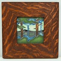 Framed Motawi Tile in Mitered Oak Frame
