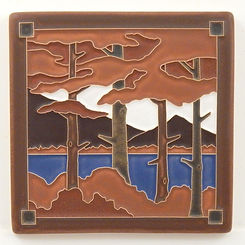 arts and crafts tile lake tahoe pines autumn