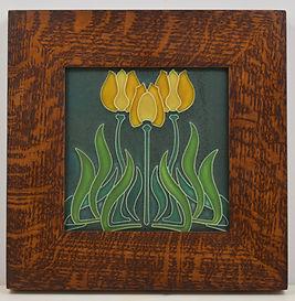 Motawi Tulips Tile in Mitered Oak Frame
