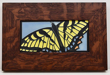 Motawi Swallowtail Tile in Mitered Oak Frame