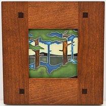Framed Motawi Tile in Morris Cherry Frame