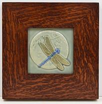 Medicine Bluff Dragonfly Tile in Mitered Oak Frame