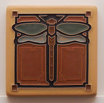 Arts and Crafts Tile Dragonfly Green Oak