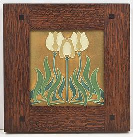 Motawi Tulips Tile in Morris Oak Frame