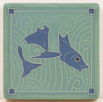 Arts and Crafts Tile Fish Blue
