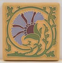 arts and crafts tile carnation tile flower tile handmade