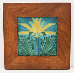 Motawi Mission Lily Tile in Mitered Cherry Frame