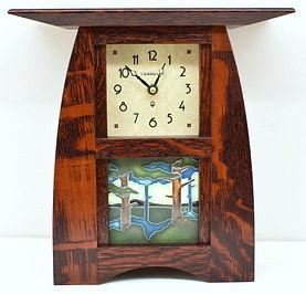 Schlabaugh Arts and Crafts Tile Clock with Motawi Pine Landscape Tile