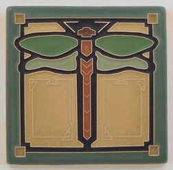 Arts and Crafts Tile Dragonfly Jade