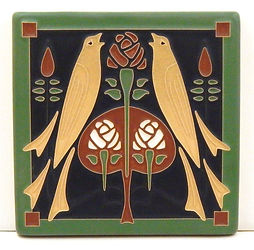 Arts and Crafts Tile Songbirds Green Oak
