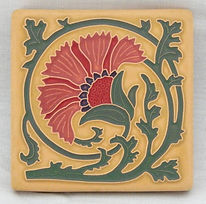 Arts and Crafts Tile Carnation Coral