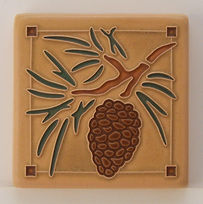 Arts and Crafts Tile Pinecone Sand