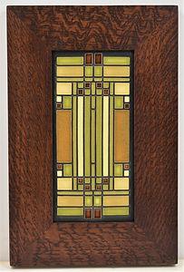 Motawi Skylight Tile in Mitered Oak Frame