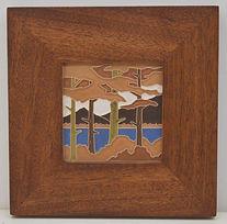 Framed Art and Crafts Tile Lake Tahoe Pines