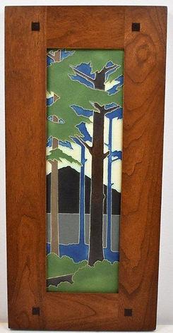 Motawi Pine Landscape Tile in Morris Cherry Frame