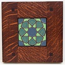 Arts and Crafts Alhambra Tile in Morris Oak Frame